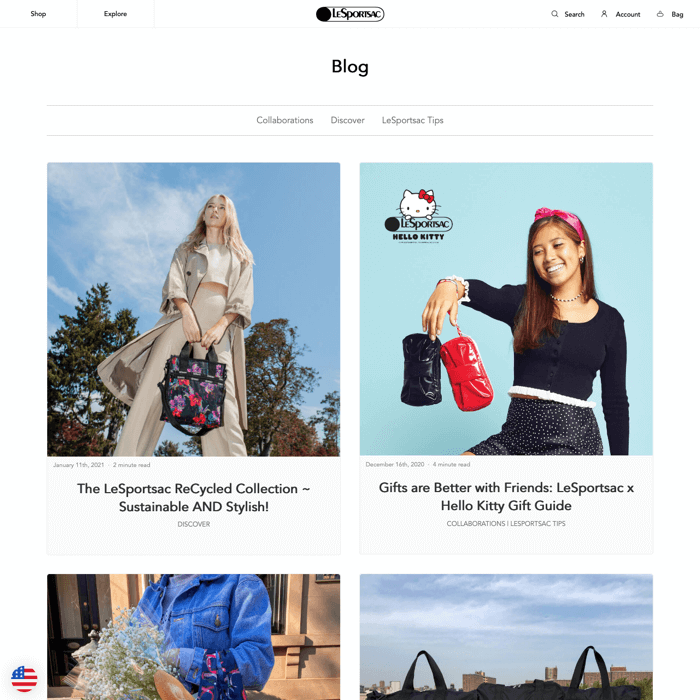 Shopify blog example
