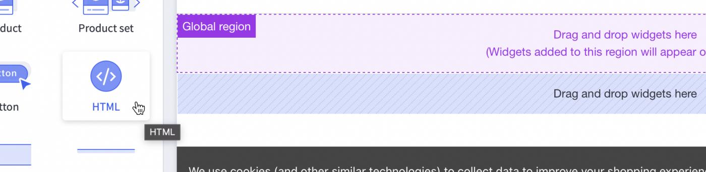 New page widget area and HTML widget