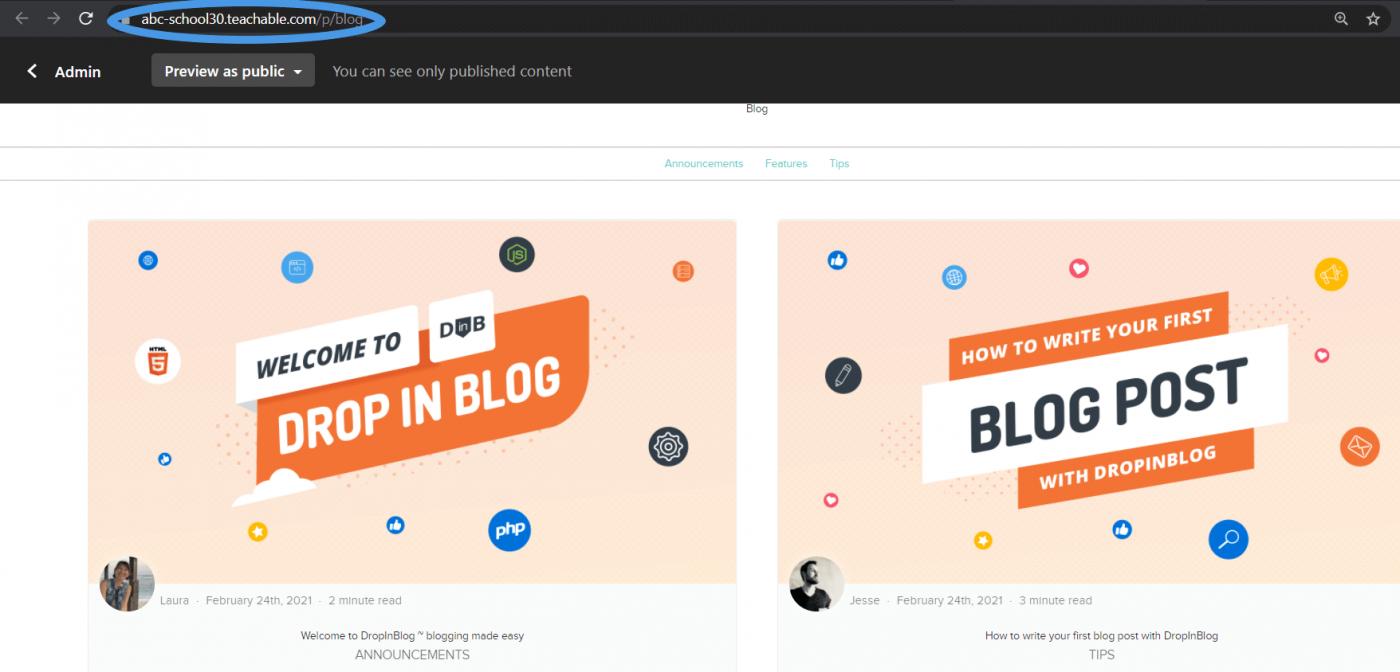 Copy blog url