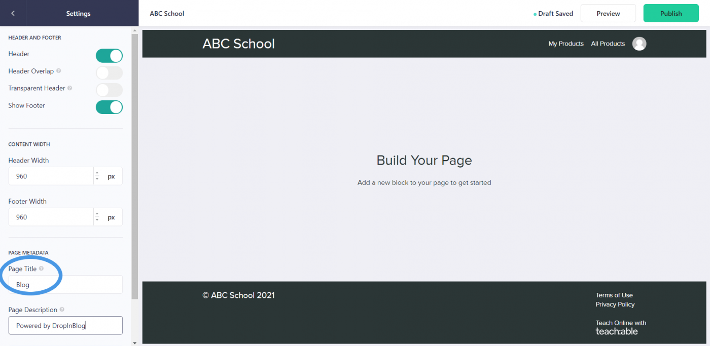 Teachable page settings