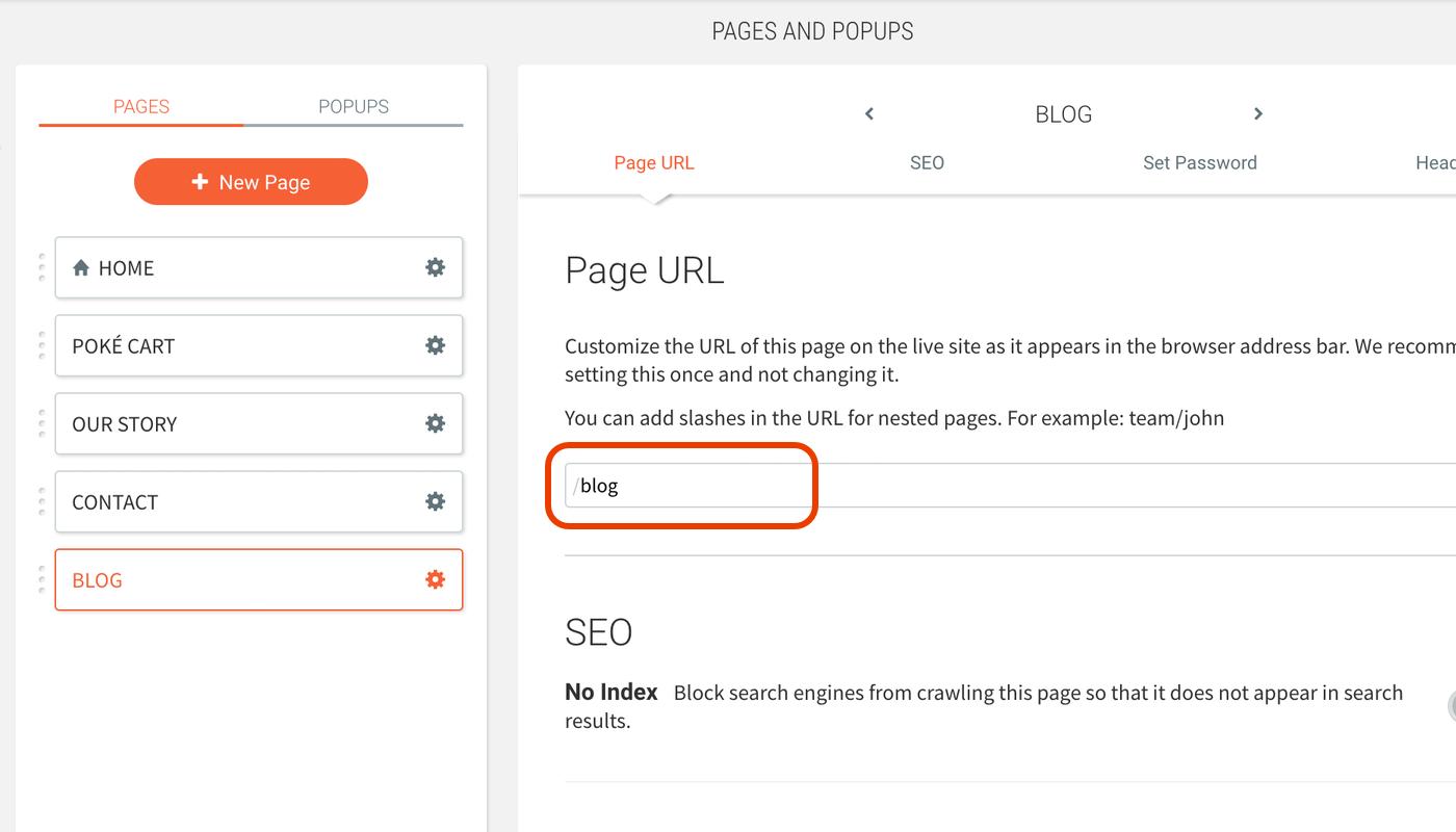 Edit page URL field in Duda