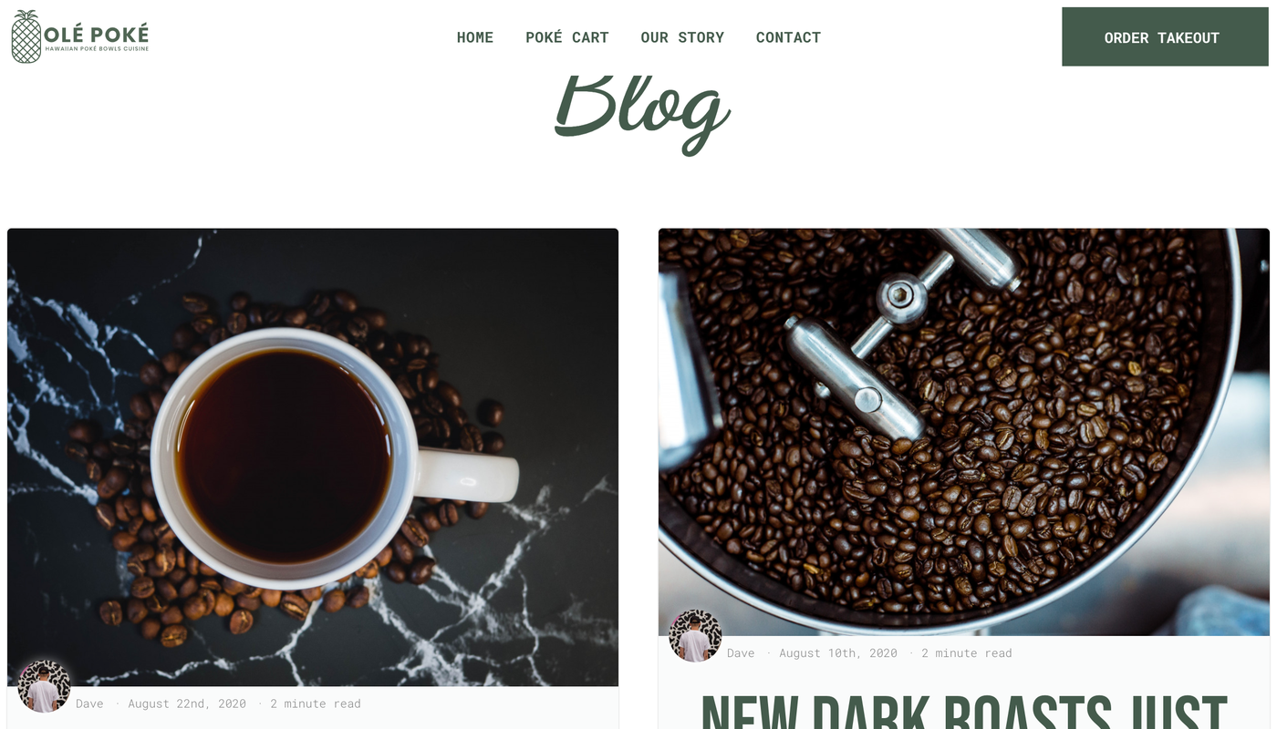 Final blog within Duda created website