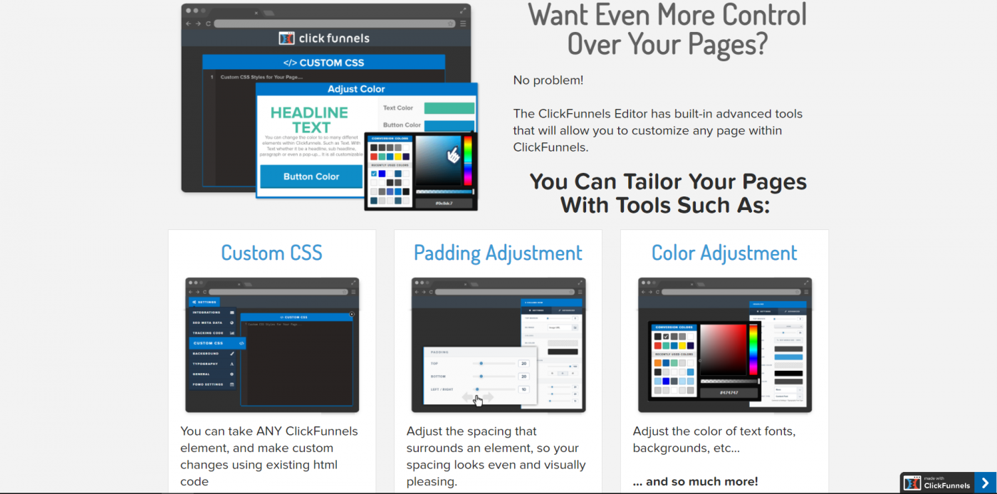 HighLevel vs ClickFunnels, Click Funnels customization features
