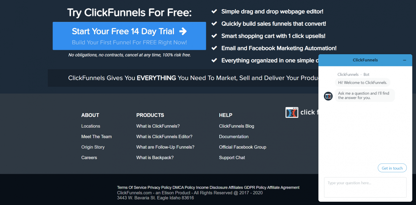 Click Funnels support chat