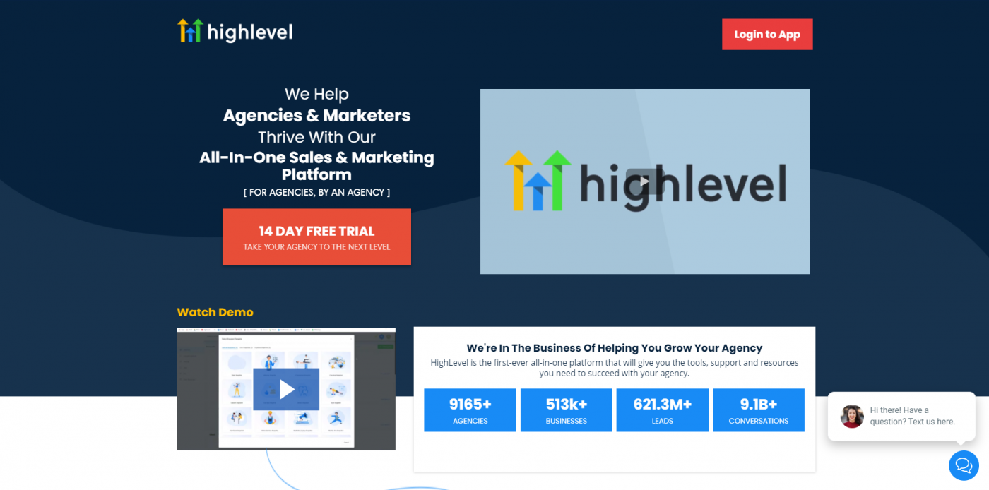 HighLevel home page