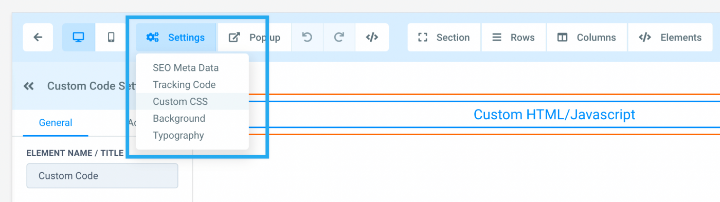 """Dropdown in the HighLevel showing the """"Custom CSS"""" option"""