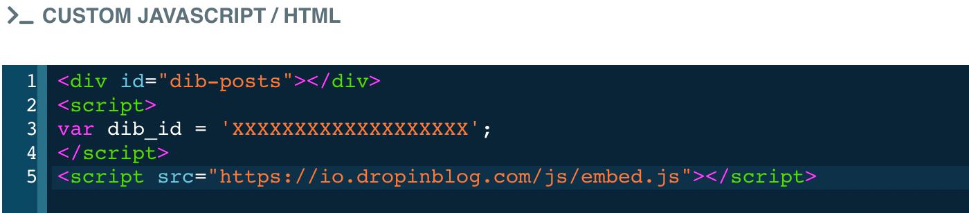 Code editor dialog open for the custom code element, DropInBlog code has been added
