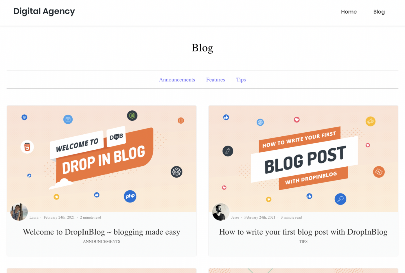The published blog on a blog page within the final website