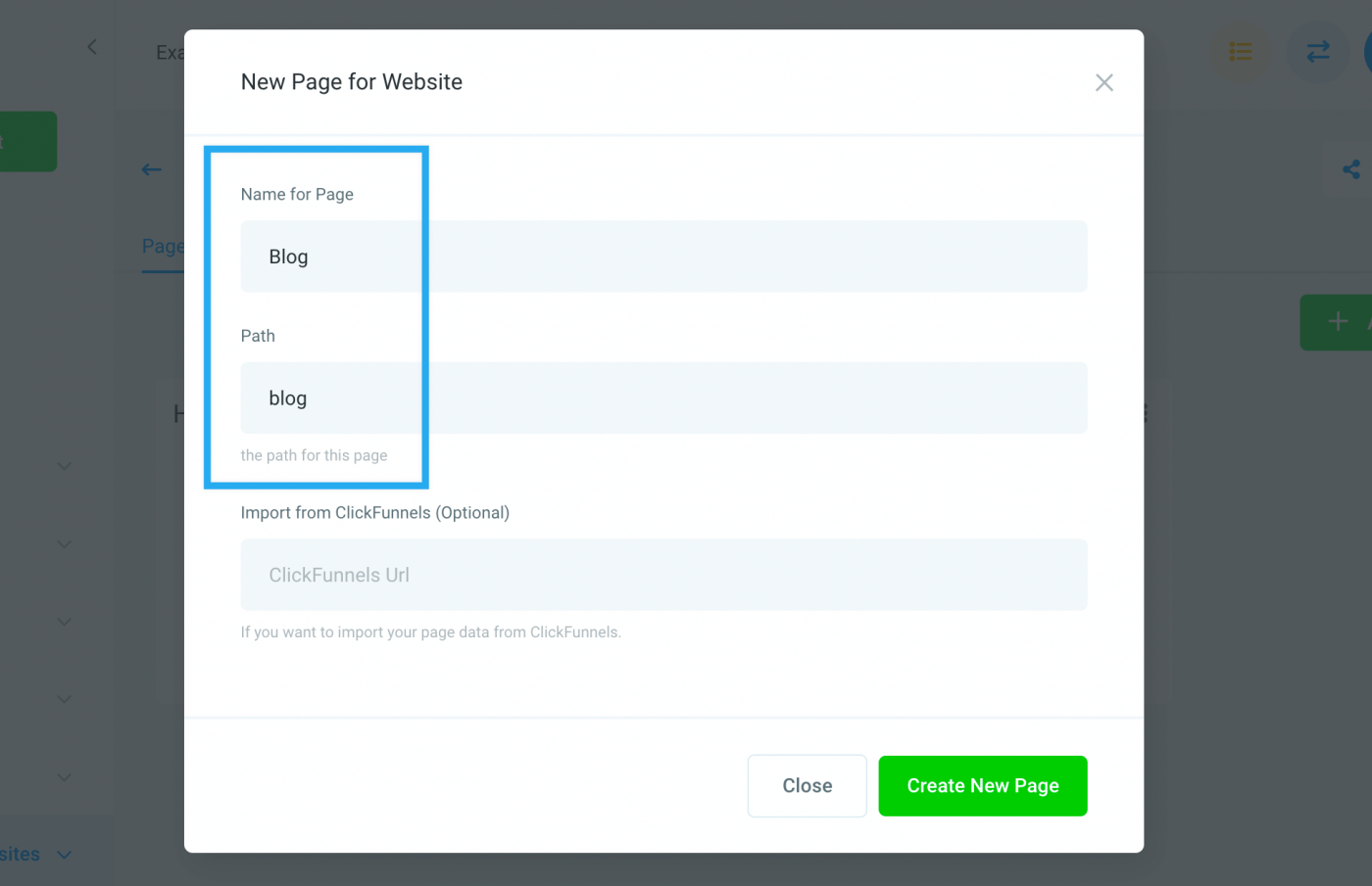 """New page dialog, with """"blog"""" as the page slug and """"Blog"""" as the page title"""