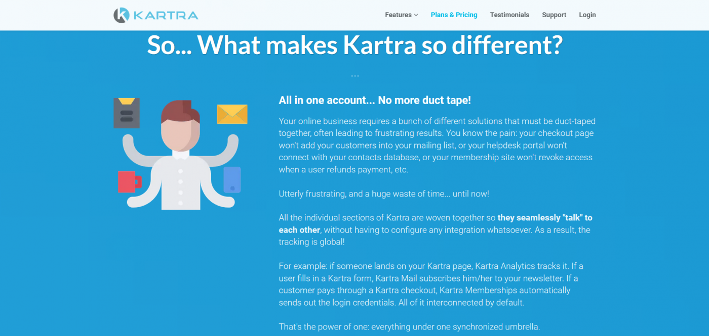 Kartra's home page