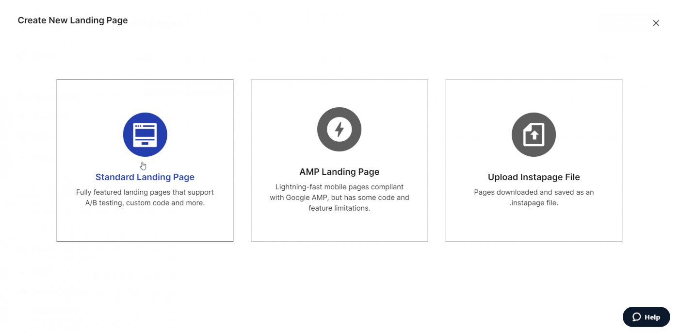 Create new landing page