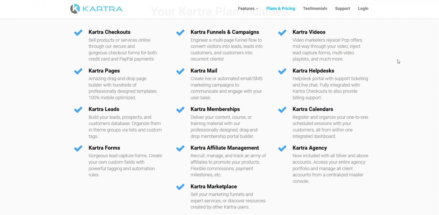 Kartra's plans