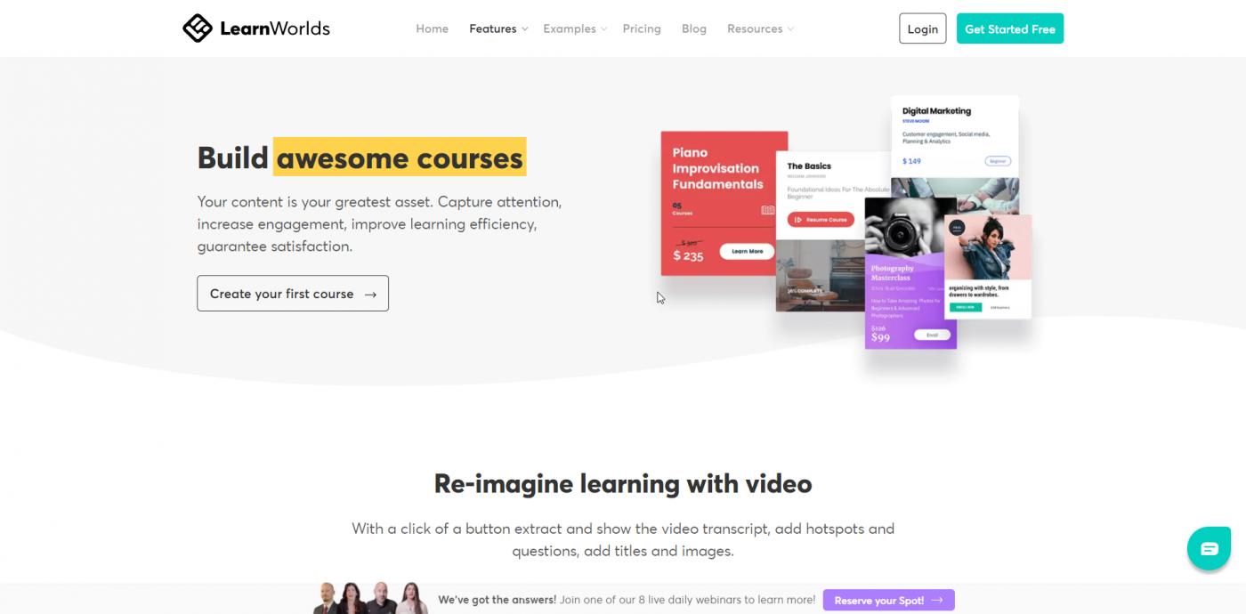 LeanWorlds features build courses