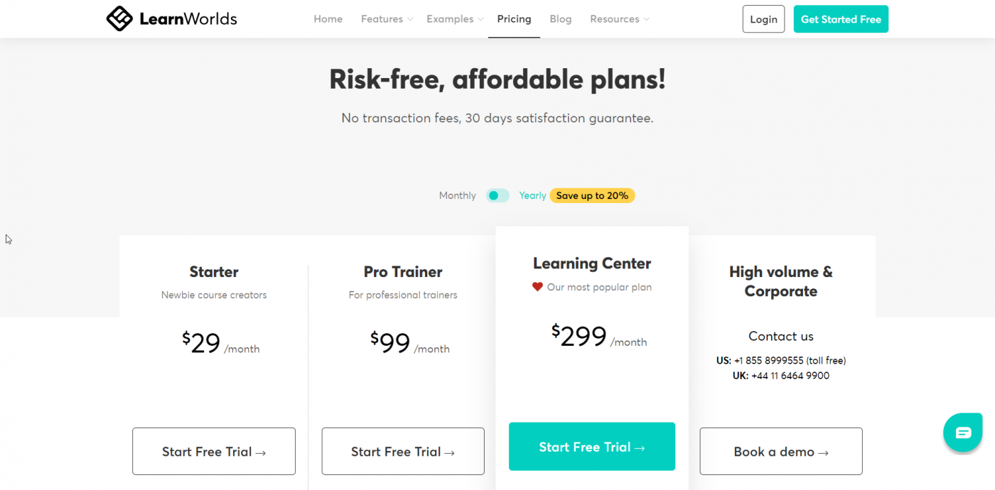 LeanWorlds pricing plans