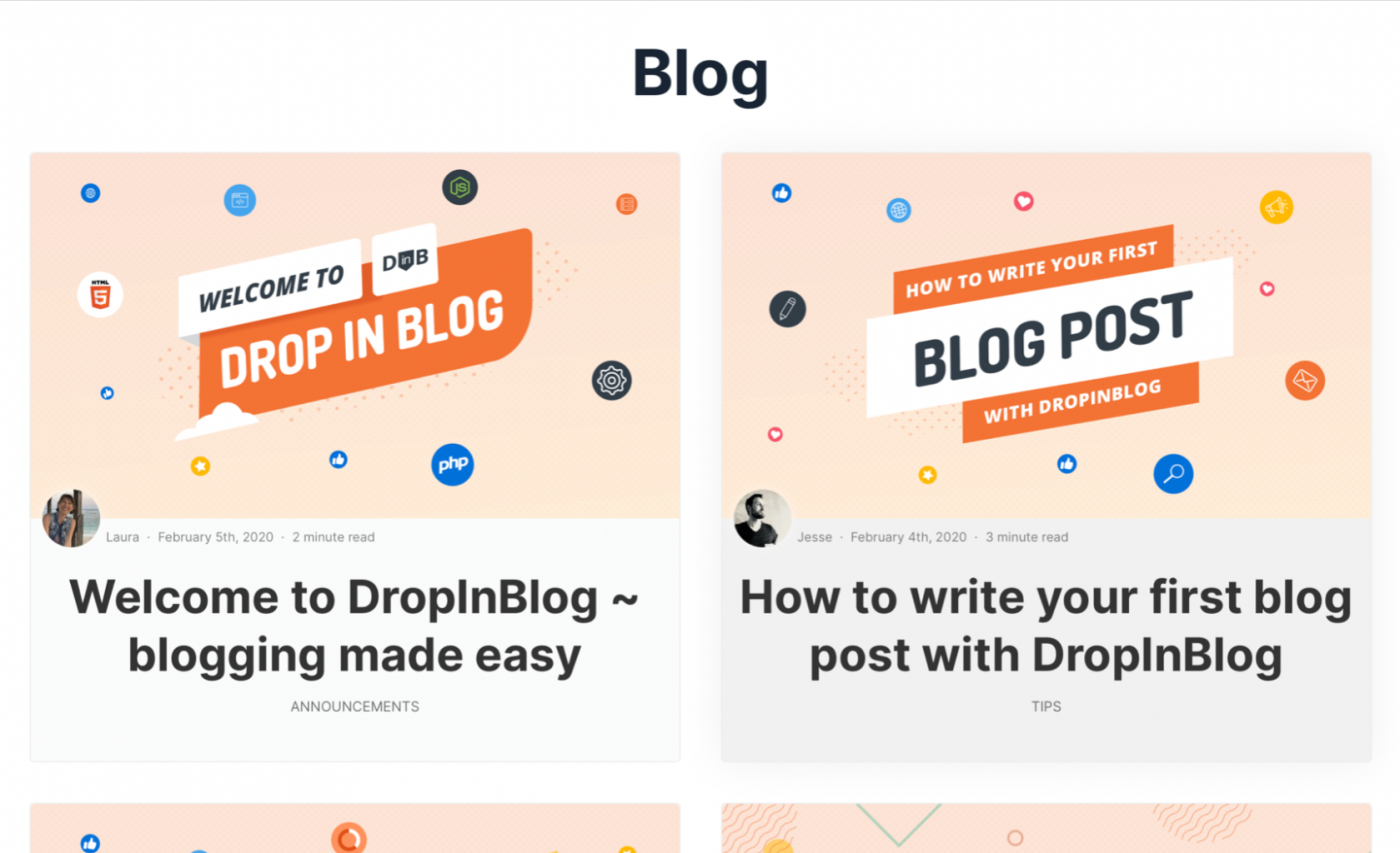 Demo of the final blog page