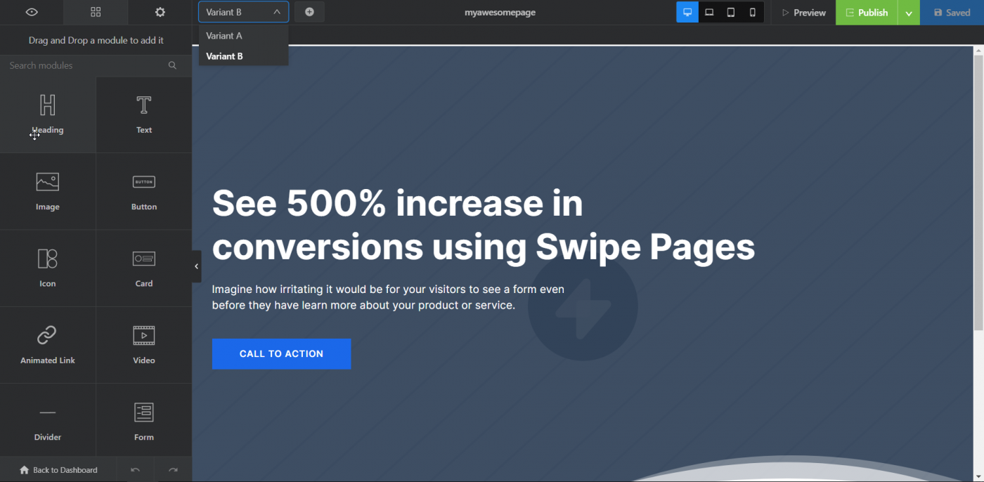 Swipe Pages editor