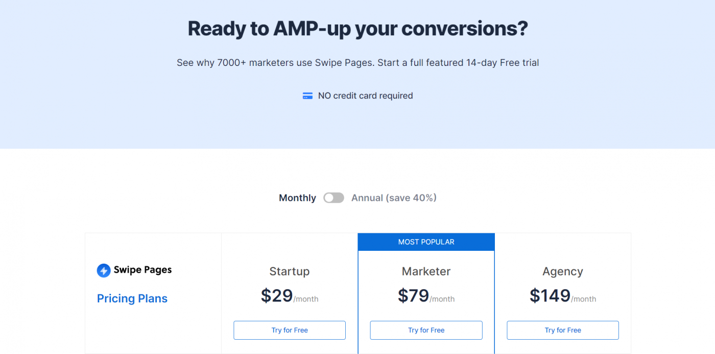 Swipe Pages pricing plans