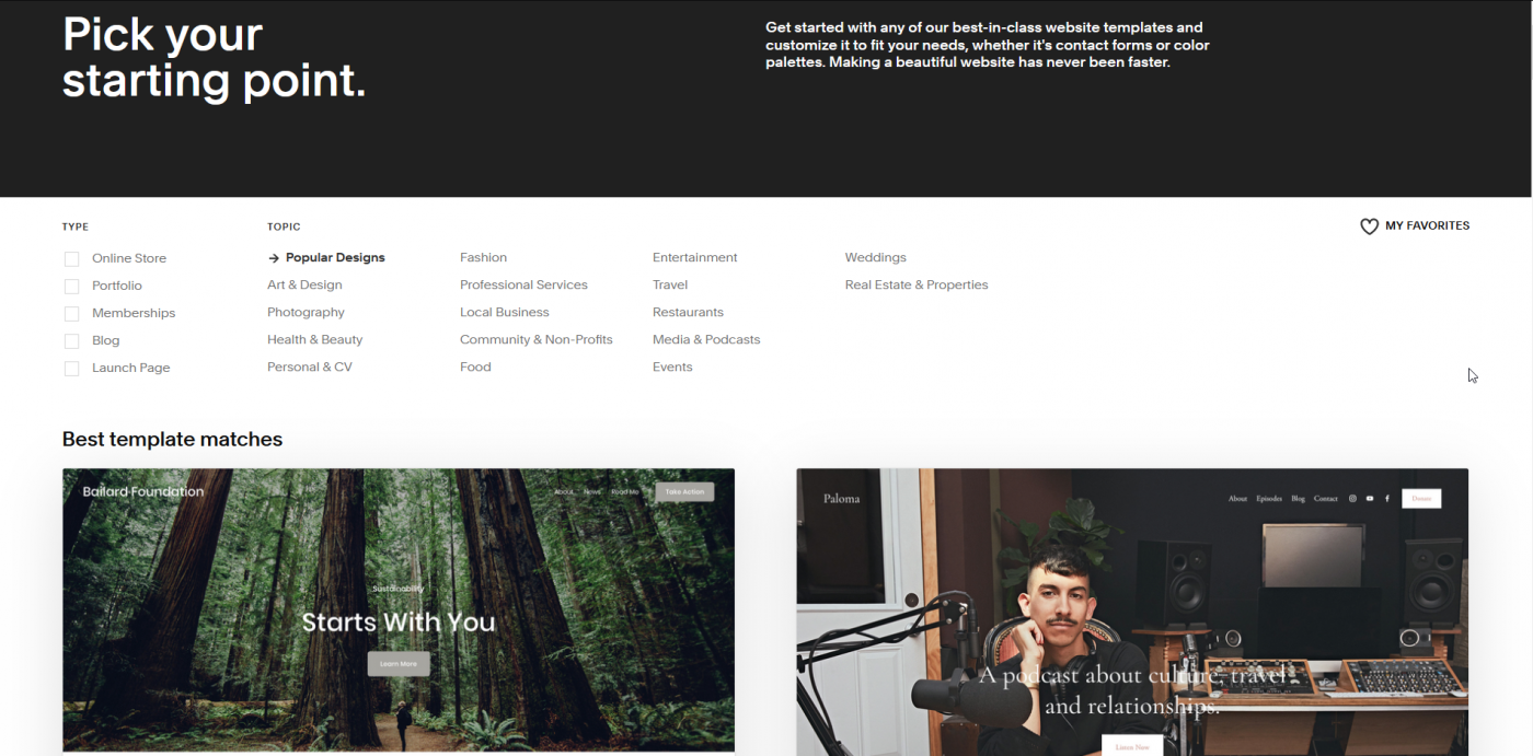 Squarespace's template page