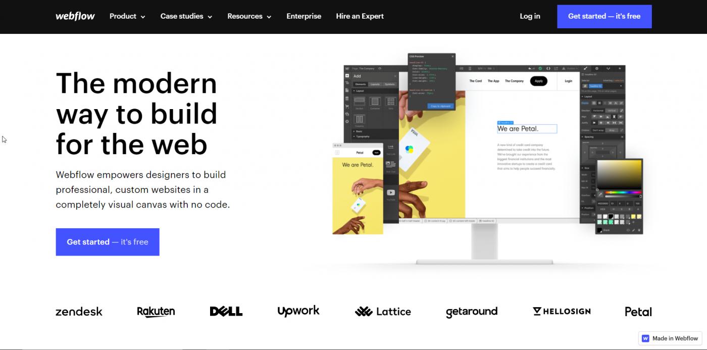 Webflow's landing page