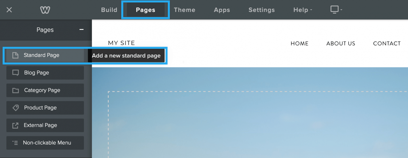 Screenshot of Weebly with a Standard page being added