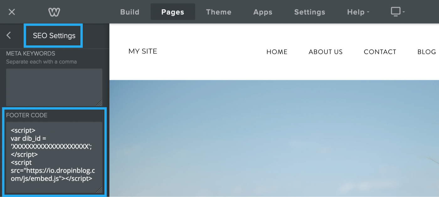 Before and after adding the DropInBlog code to the Footer Code field in Weebly