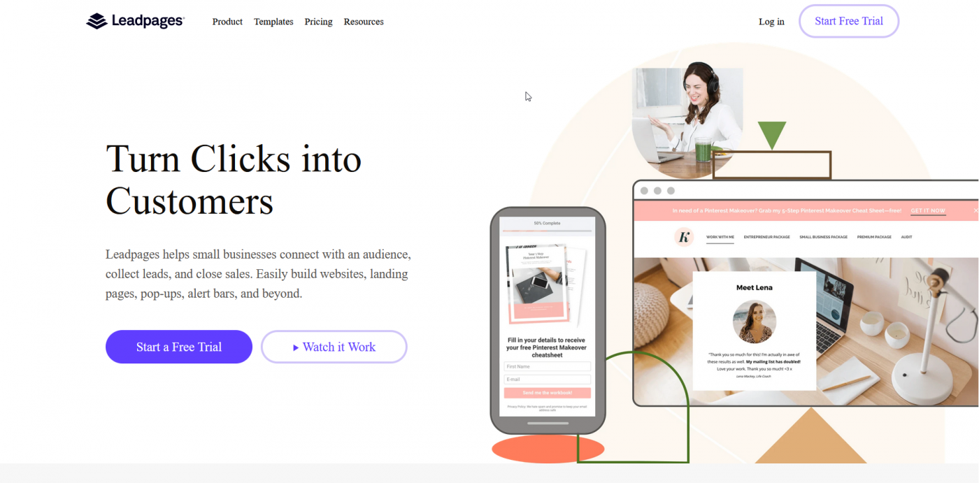 Leadpages home page