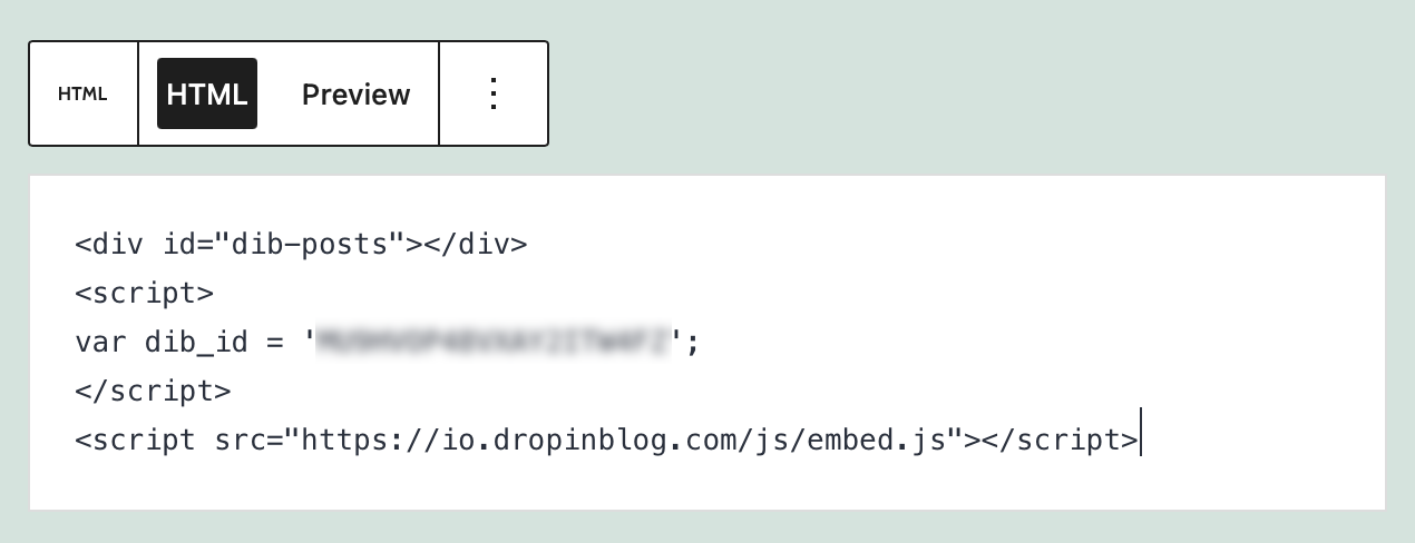 Code added to the Custom HTML block