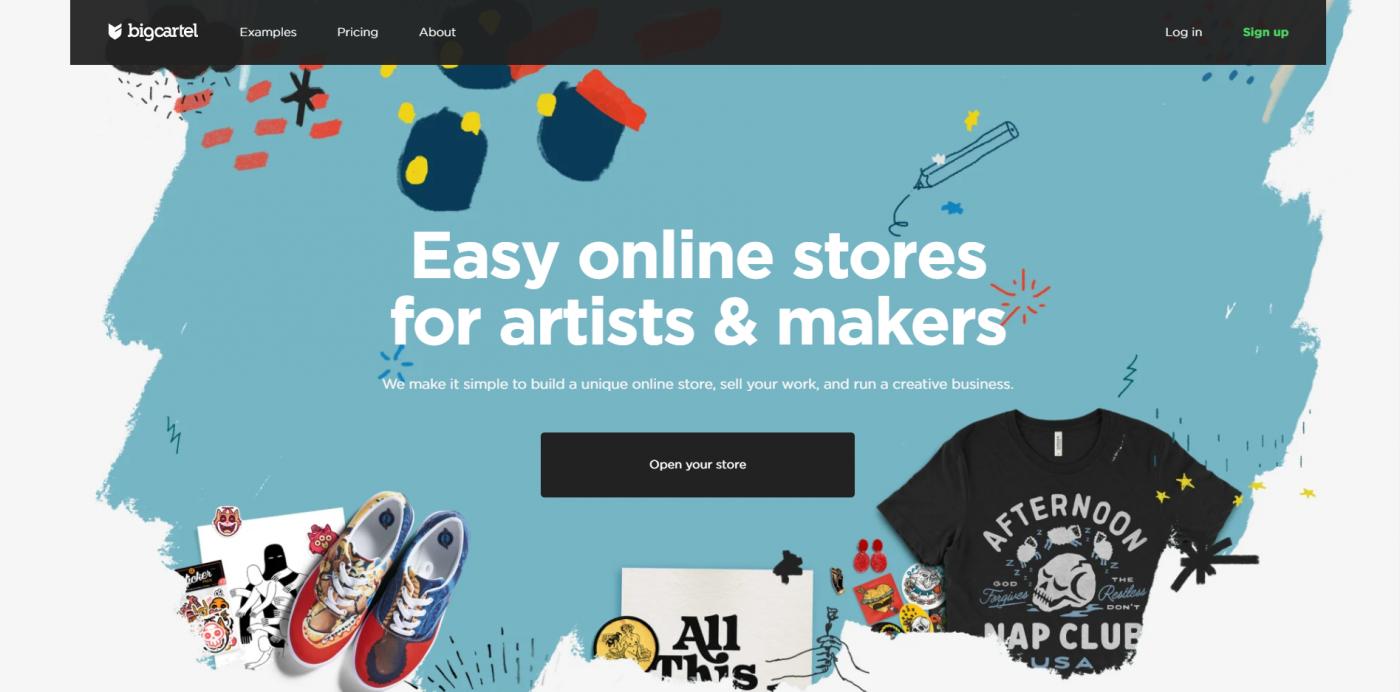 Big Cartel's landing page - Big Cartel vs Shopify