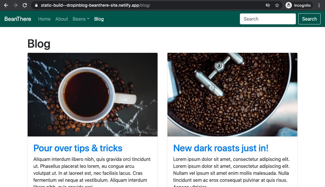 Existing example website blog, using DropInBlog embed option