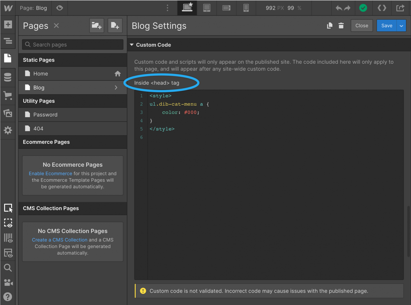 custom CSS in webflow
