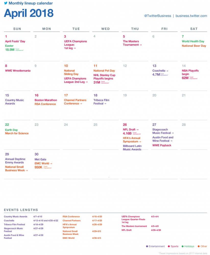 SocialOwl Twitter Calendar April 2018
