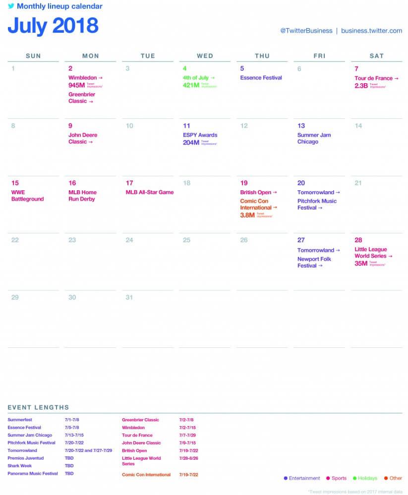 SocialOwl Twitter Calendar July 2018