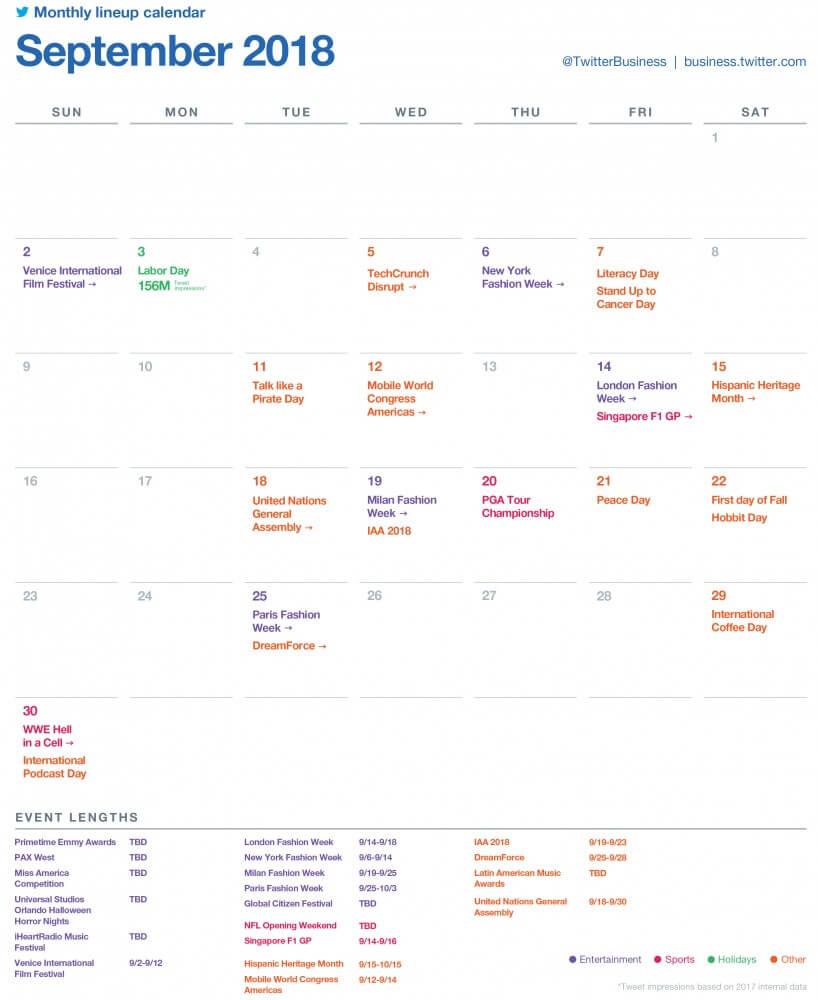 SocialOwl Twitter Calendar September 2018