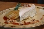 Billy Blue Cheese Cheesecake with White Port Wine Poached Pears, White Port Caramel and Wisconsin Candied Walnuts