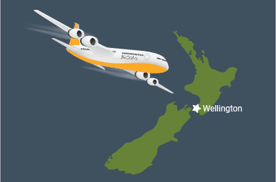 graphic showing a bizdata style plane relocating to new zealand