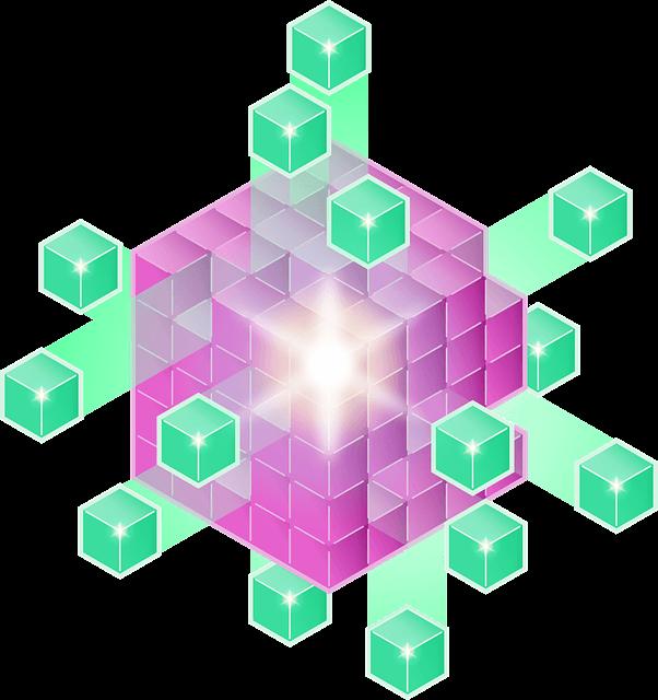 an abstract cartoon representation of an olap data cube