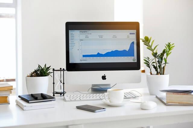 a screen on a dest presenting an effective business dashboard
