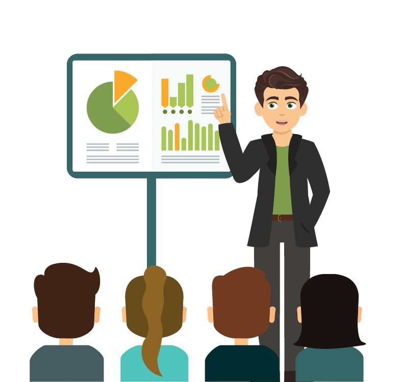 A stylised graphic showing a bizdata power bi training class
