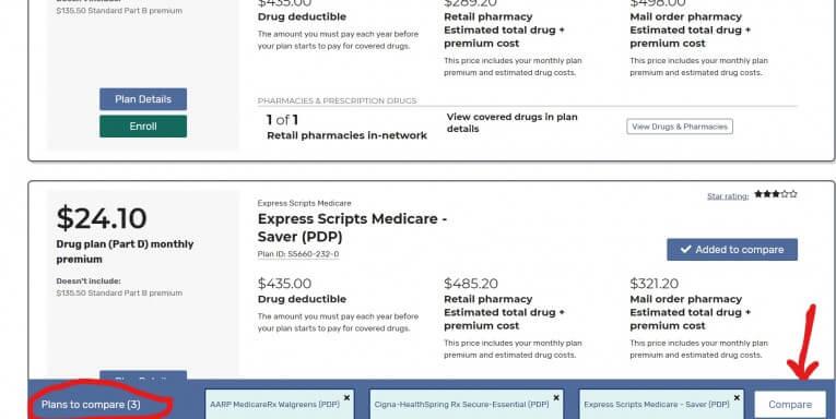 Medicare Plan Finder Compare tool