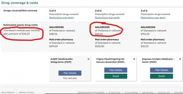 Medicare Plan Finder Comparing 3 Plans Continued