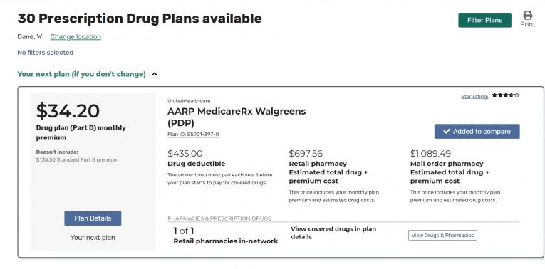 Medicare Plan Finder plans available