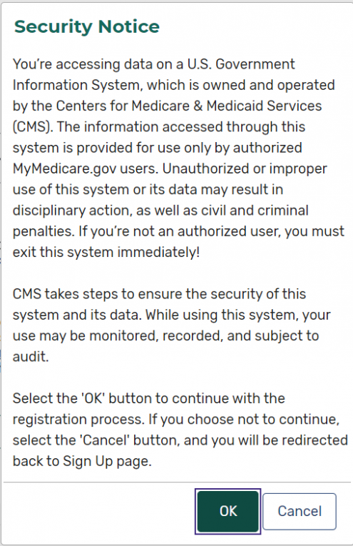 Medicare Plan Finder Security Notice