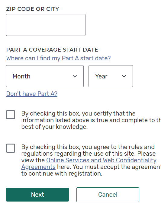 My Medicare Account Required Fields Continued