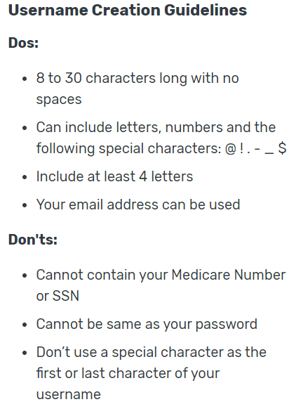 My Medicare user name rules