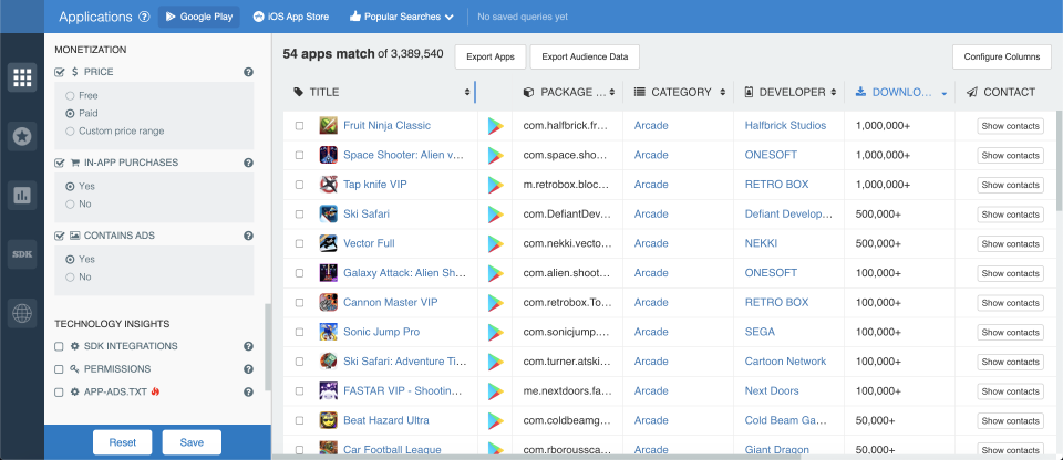How to filter Android games by price; app store analytics from 42matters.