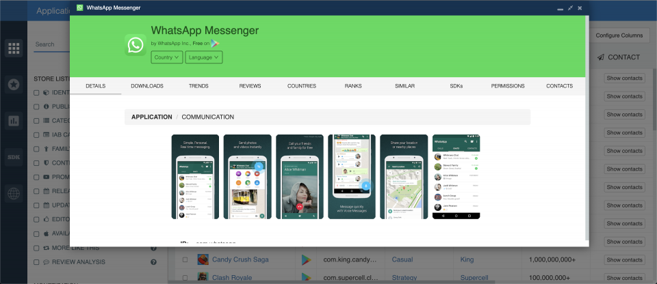 WhatsApp pop-up feature — app analytics, app insights.