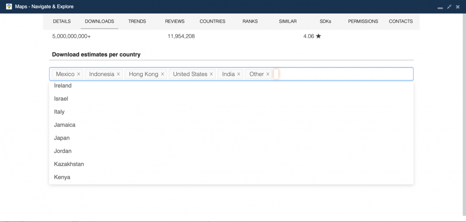 Filter app downloads by country — 42matters app download statistics.