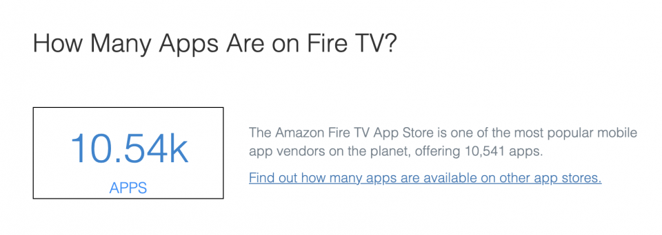 How many apps are on Amazon Fire TV — State of Connected TVs 2020