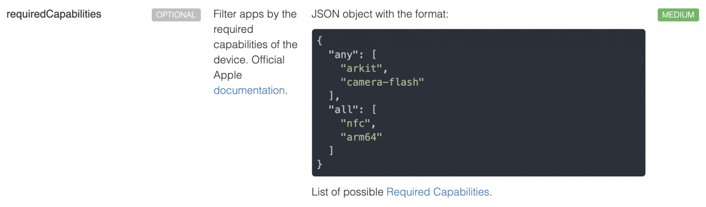 Required Capabilities API from 42matters.