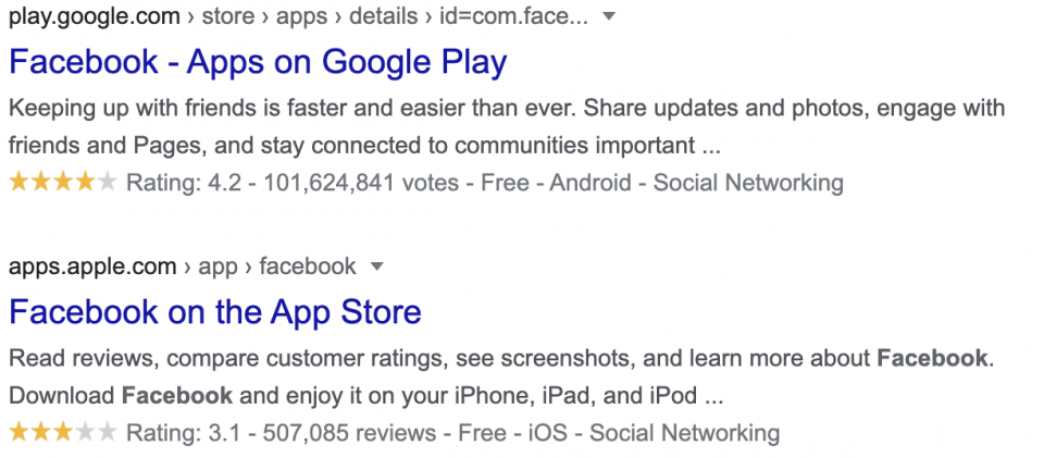 App rating search results — mobile app analytics